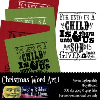 Quick and Easy Holiday Idea:  Christmas Word Art For Cards, Decorating or Gift Giving