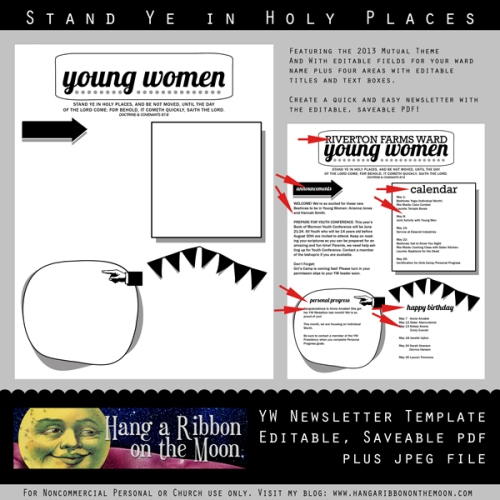 Free 2013 Young Women's Newsletter Template from Hang a Ribbon on the Moon. Editable and saveable PDF and high-quality JPEG files! Totally customizeable.