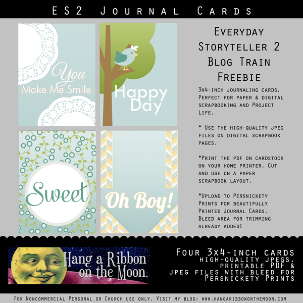 Free journaling cards! Perfect for digital and paper scrapbooking and Project Life. Free download from Hang a Ribbon on the Moon.
