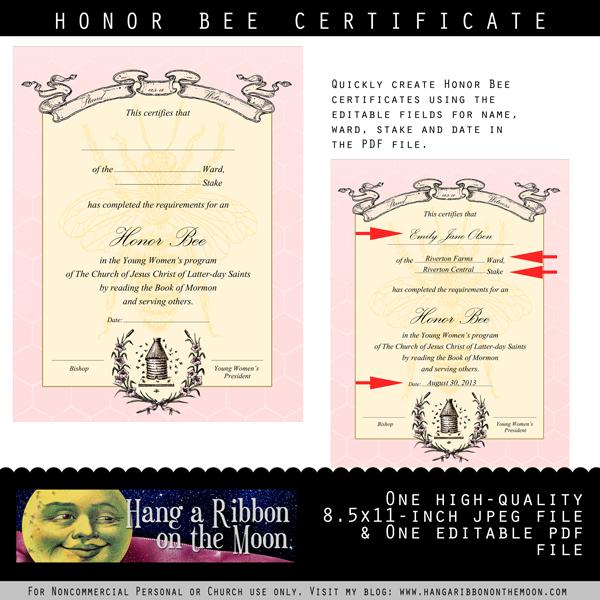 Personal Progress Honor Bee Certificate: Editable/Saveable PDF | Hang ...