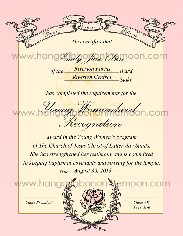 Young Womanhood Recognition certificate (ward & stake versions ...