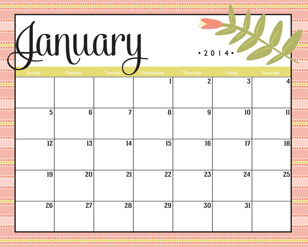 2014 Personal Progress Calendar. Free download and project instructions coming soon!