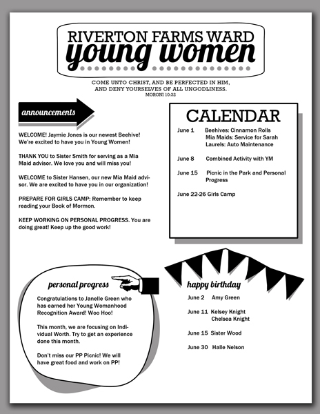 2014 Young Women Newsletter Template. Free download from Hang a Ribbon on the Moon! Editable/saveable PDF makes creating newsletters for your girls quick and easy.