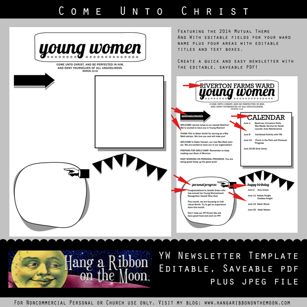 2014 yw newsletter template editable saveable pdf hang a ribbon
