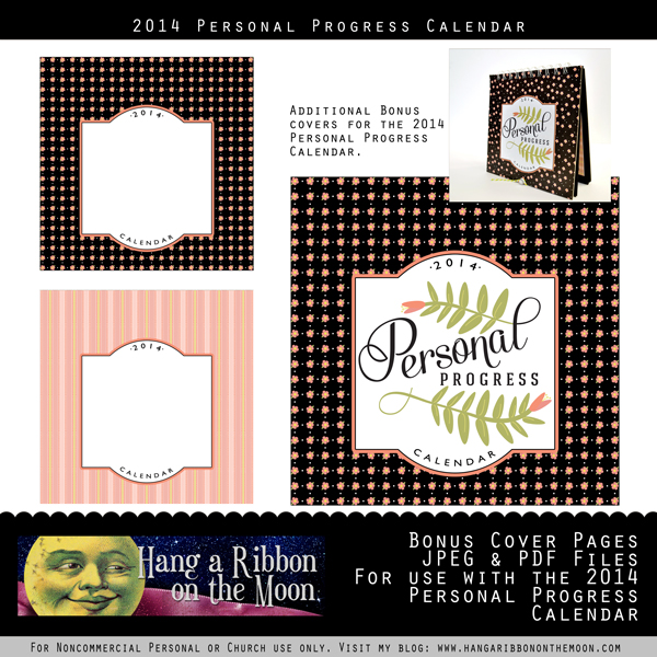 2014 Personal Progress Calendar Bonus Covers. Now you can adapt this project for Activity Days, Relief Society and more!