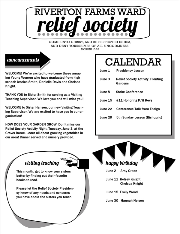 Relief Society Newsletter Template: Easy-to-customize PDF with areas for ward, scripture, birthdays, etc. FREE download!
