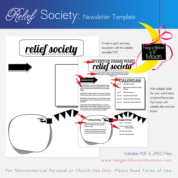 relief society newsletter template customizable pdf jpeg hang a