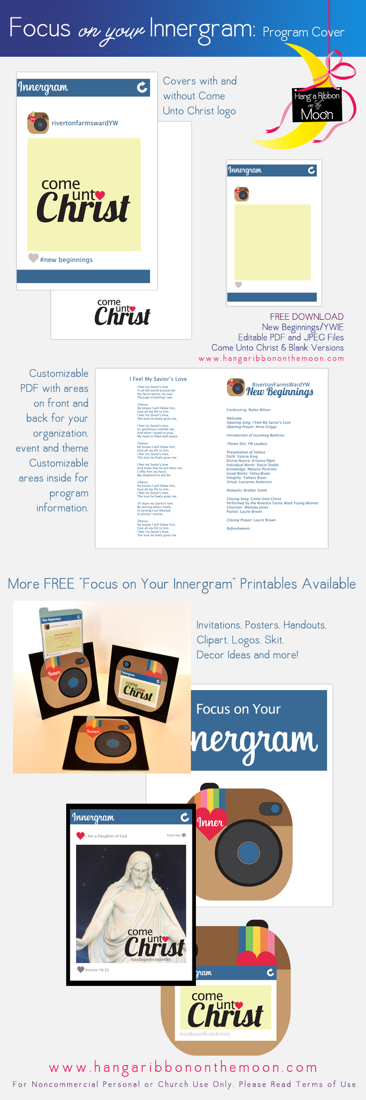 Focus on Your Innergram: Program Covers and Skit. Great theme for YWIE, New Beginnings, Relief Society, Youth Conference, Activity Days. Tons of free printables!