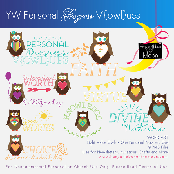 YW Personal Progress V{owl}ues Owls Wordart. Free download!