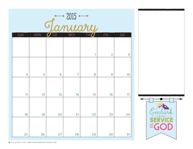 2015 Mutual Theme Calendars for Young Women! Editable PDF--so easy to use! Color and black & white versions. FREE download!