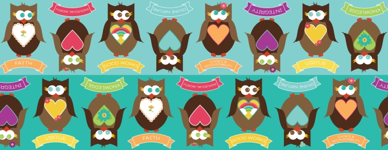 YW Personal Progress V{owl}ues Fabric Collection (11 designs). Perfect for YW birthdays, Christmas gifts, crafts and more!