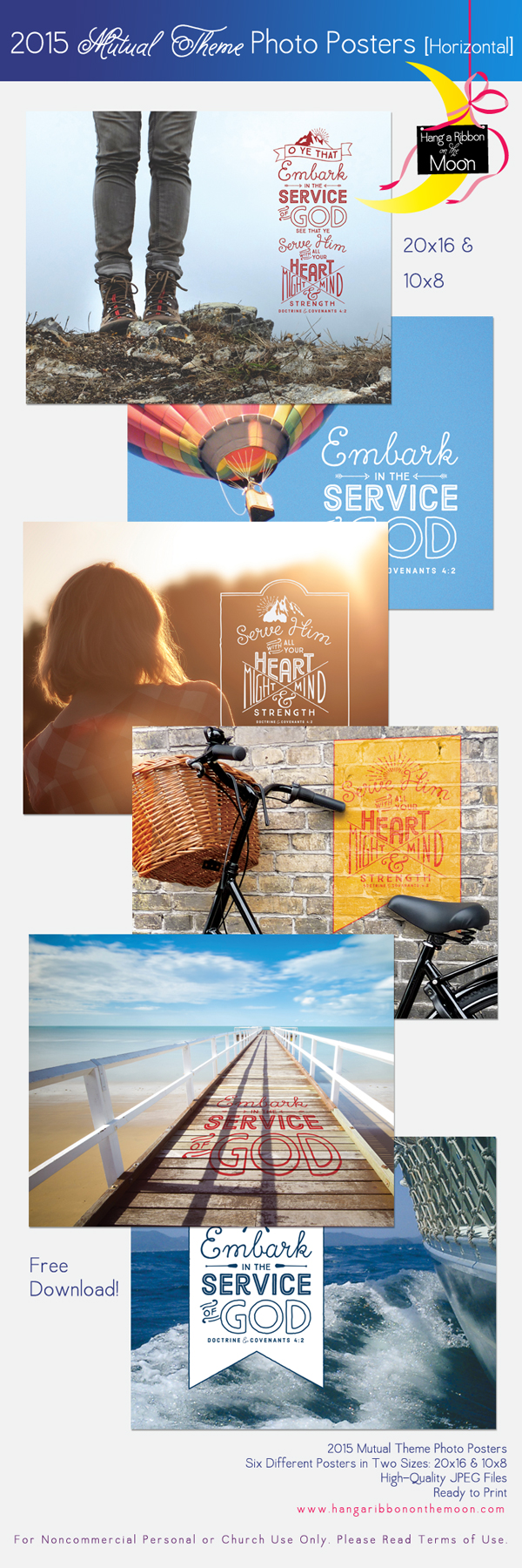 2015 Mutual Theme Photo Posters (20x16 & 10x8-inches). Six different hroizontal-format posters. FREE download! Perfect for New Beginnings, YWIE, camp, Youth Conference, binder covers, crafts, handouts, gifts and more!