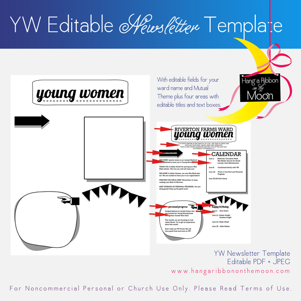 Young Women Newsletter Template. FREE download. Editable PDF.