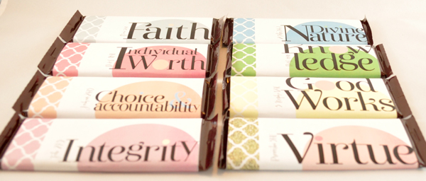 Candy-bar wrappers from the YW Values Now Collection: a suite of LDS Young Women's printables celebrating Personal Progress. Free downloads!