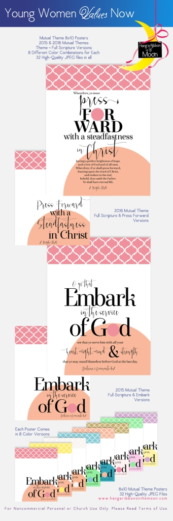 YW Values Now Collection 2015 & 2016 Mutual Theme Posters. FREE downloads!