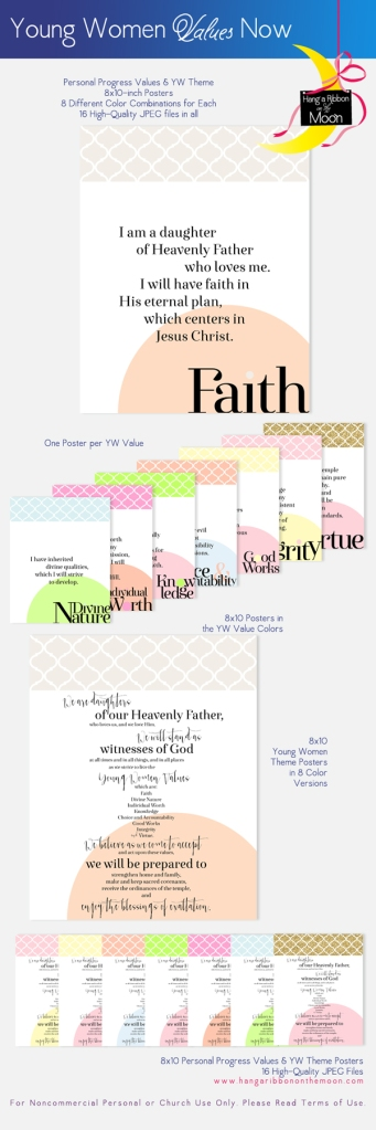 YW Values Now Collection: 8x10-inch Personal Progress Values and YW Theme Posters. FREE downloads!
