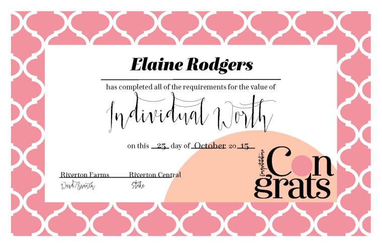 YW Values Now Collection: Certificates. FREE download! Certificates for completion of each YW Personal Progress Value + BONUS YW Recognition Award & Honor Bee certificates!
