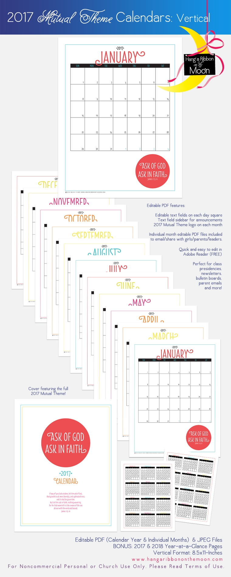 2017 Mutual Theme Calendars. Editable PDF. Free download!
