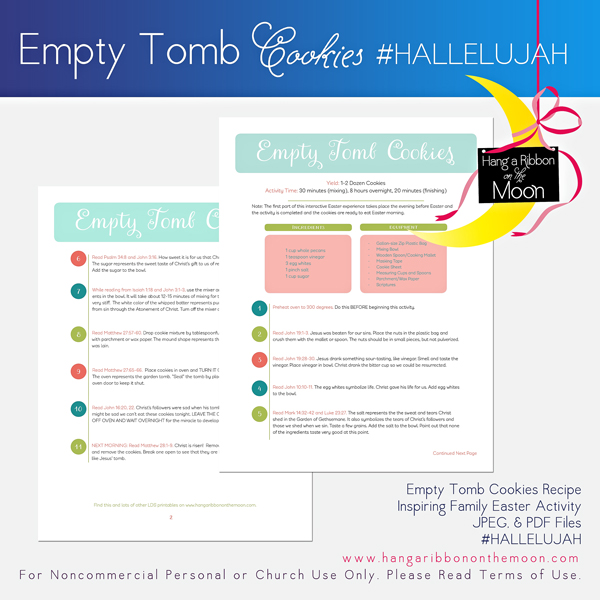 #HALLELUJAH Empty Tomb Cookies Recipe and Activity Guide. FREE dowload! Inspire your family this Easter Season!