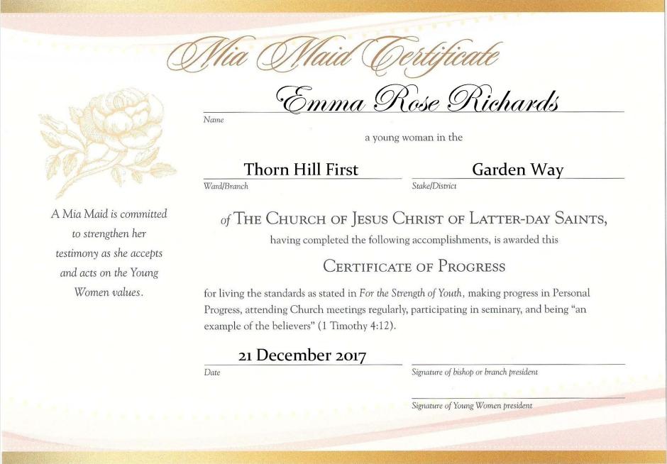 YW Advancement Certificates [Beehive, Mia Maid & Laurel]: Free Editable PDF Files!