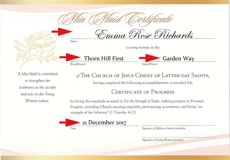 YW Advancement Certificates Editable PDF [Beehive, Mia Maid & Laurel] FREE download!