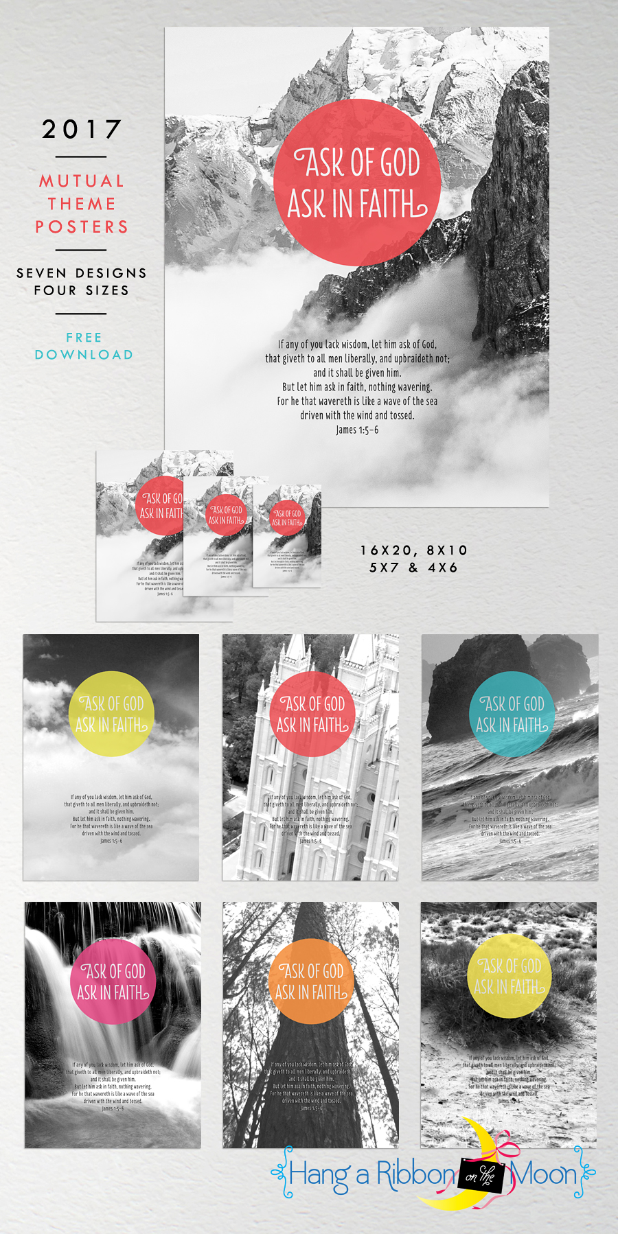 2017 Mutual Theme Photo Posters: FREE download! Seven designs, four sizes. Great for YW & YM!