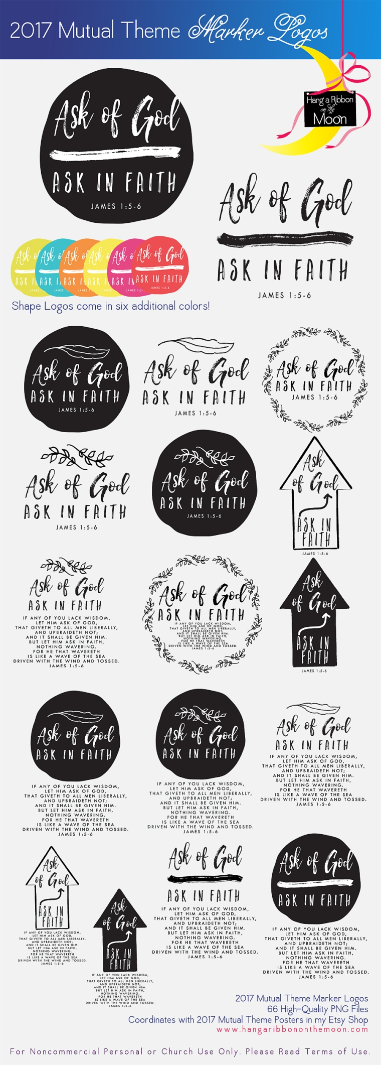 2017 Mutual Theme Marker Collection. FREE Logos! Use for Youth Conference, Girls Camp, Mutual Activities, YWIE, New Beginnings and more!