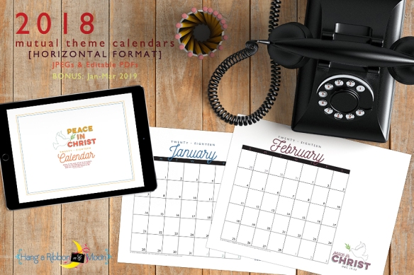 2018 Mutual Theme Calendars: Editable PDF & JPEG [Horizontal