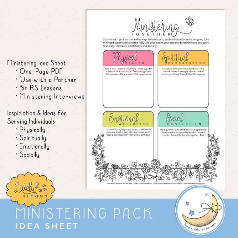 Ministering Idea Sheet from Lively Blooms Ministering Pack