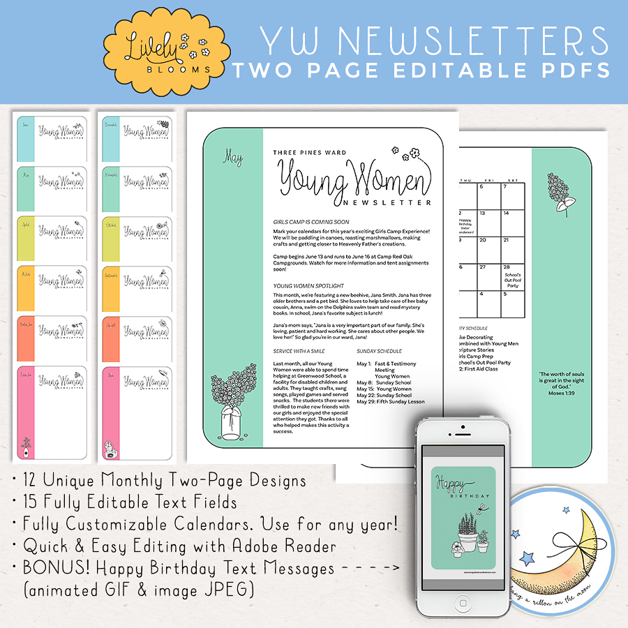 Lively Blooms A Year S Worth Of Young Women Newsletter Templates Free Editable Pdf Sample Hang A Ribbon On The Moon