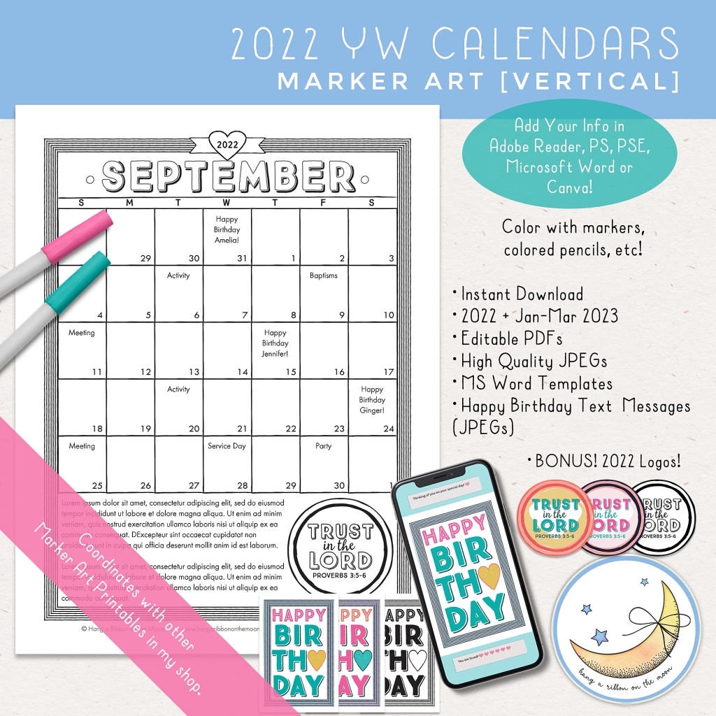 2022 LDS Young Women Youth Theme Trust in the Lord calendars. Editable PDF, Microsoft Word template and JPEG files with marker graphics. Happy birthday text messages and Trust in the Lord logos included.