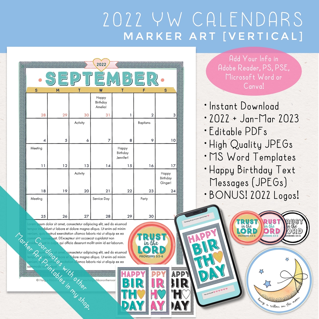 2022 LDS Young Women Youth Theme Trust in the Lord calendars. Editable PDF, Microsoft Word template and JPEG files with marker graphics. Happy birthday text messages and Trust in the Lord logos included. Aqua blue, pink, yellow and peach.